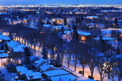 Winter city night stock photography