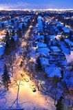 Winter city night scene Stock Images