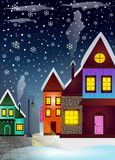 Winter city at night and snowflakes vector illustration