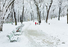 Winter city park. Mother with children walking in winter snow covered city park (dull day Royalty Free Stock Photos