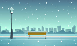 Winter City Park. Cartoon illustration of the winter in the park with cityscape in background Stock Photo
