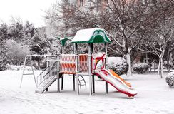 Winter in city park Royalty Free Stock Photo