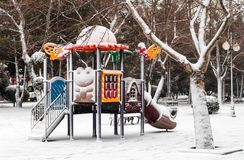 Winter in city park Stock Photos