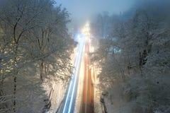 Winter city park at night Stock Image