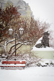 Winter city park in snow Royalty Free Stock Photos