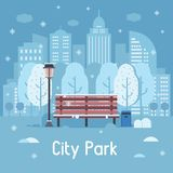 Winter City Park Vector Illustration Stock Image