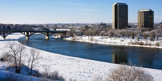 Winter in the City of Saskatoon, Canada Stock Photography