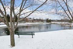 Winter city scene with a bench near pond Royalty Free Stock Photography