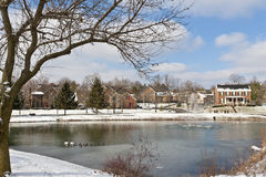 Winter city scene with a pond Stock Photo