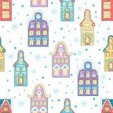 Winter city seamless pattern. Snowfall Christmas Royalty Free Stock Photography