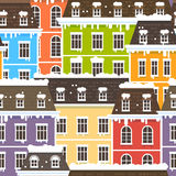 Winter City Seamless Pattern. Vector illustration with snowy flat houses Stock Images