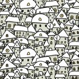 Winter city sketch, seamless pattern for your Stock Photo