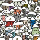 Winter city sketch, seamless pattern for your Royalty Free Stock Photography