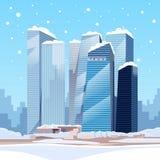 Winter City Skyscraper View Cityscape Snow Skyline Royalty Free Stock Photos
