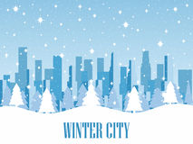 Winter city. Snow-covered metropolis with skyscrapers. Vector. Illustration Royalty Free Stock Image