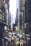 Winter city with snow. Painting of winter city with snow Stock Photos