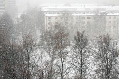 Winter in the city, it snows royalty free stock photo