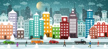 Winter City. Snowy Street. Stock Photos