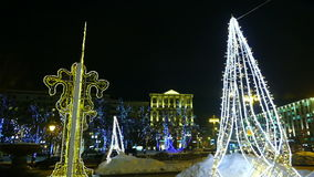 Winter city street in Moscow (illuminated trees), people stock video footage