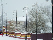 Winter city. Winter street and trees covered with snow Royalty Free Stock Images