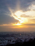 Winter city. Sunset during winter in Lviv stock photography