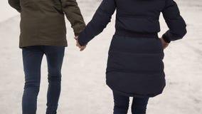 Winter City Teenagers Run stock video