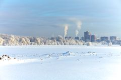 Winter city under the snow Royalty Free Stock Images