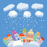 Winter in city. Vector illustration with winter background Royalty Free Stock Photography