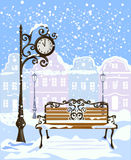 Winter city view with street clock and bench Royalty Free Stock Images
