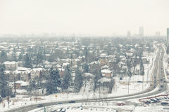 Winter city view suburbs toned Royalty Free Stock Photos