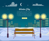 Winter City Web Banner. Urban Town at Night Stock Images