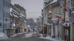Winter cityscape, Brasov, Romania stock video footage