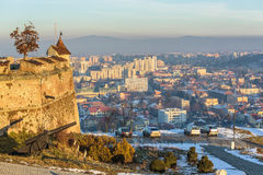 Winter cityscape of Brasov, Romania Stock Photos