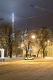 Winter cityscape in the center of Lvov city at the nig Stock Image