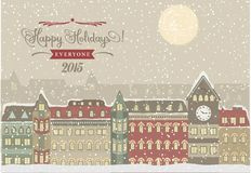 Winter Cityscape, Christmas Illustration Royalty Free Stock Image