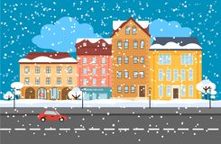 Winter Cityscape Flat Concept Stock Photo