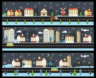 Winter cityscape in flat style Royalty Free Stock Image