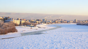 Winter cityscape on the Irtysh River. Stock Images