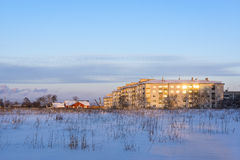 Winter cityscape, modern and old houses Stock Photography