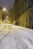 Winter cityscape at the night - old street in Lvov Stock Photo