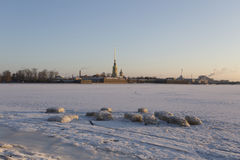 Winter cityscape. Saint-Petersburg, winter, cold,sunny day, early morning, no people around Stock Photos