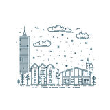 Winter Cityscape in trendy linear style. Stock Photography