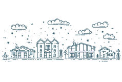 Winter Cityscape. Vector illustration with houses, clouds and snow Royalty Free Stock Photo