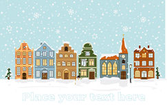 Winter Cityscape Vector Illustration with space for text Royalty Free Stock Photo