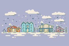 Winter Cityscape. Vector vintage Christmas card. Houses, clouds and falling snow Royalty Free Stock Images