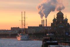 Winter sunset cityscape Stock Photo