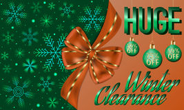 Winter clearance card decorated with big orange bow, green Christmas balls. Abstract winter clearance card decorated with big orange bow, green Christmas balls Royalty Free Stock Image