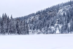 Winter cliffs on Usva. Usva river, bloody finger, poles Stock Images