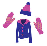 Winter Clothes. Jacket, gloves and hat in blue and pink Stock Image