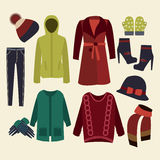 Winter clothes collection Royalty Free Stock Photo
